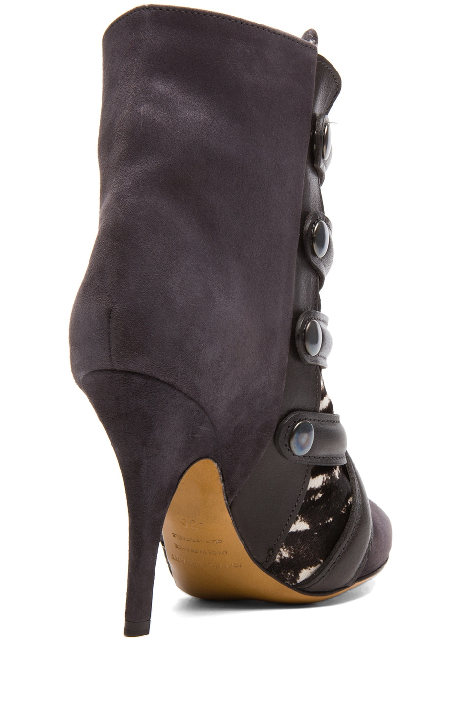 Image 3 of Isabel Marant Tacy Goat Suede Leather Pony Booties in Anthracite