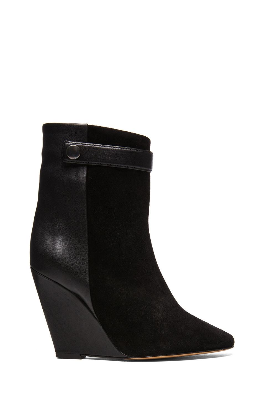 Image 1 of Isabel Marant Purdey Calfskin Velvet & Leather Booties in Black