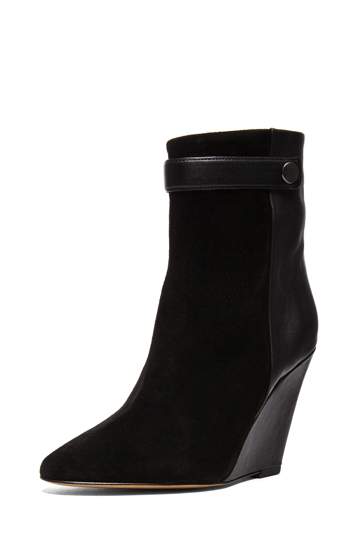 Image 2 of Isabel Marant Purdey Calfskin Velvet & Leather Booties in Black