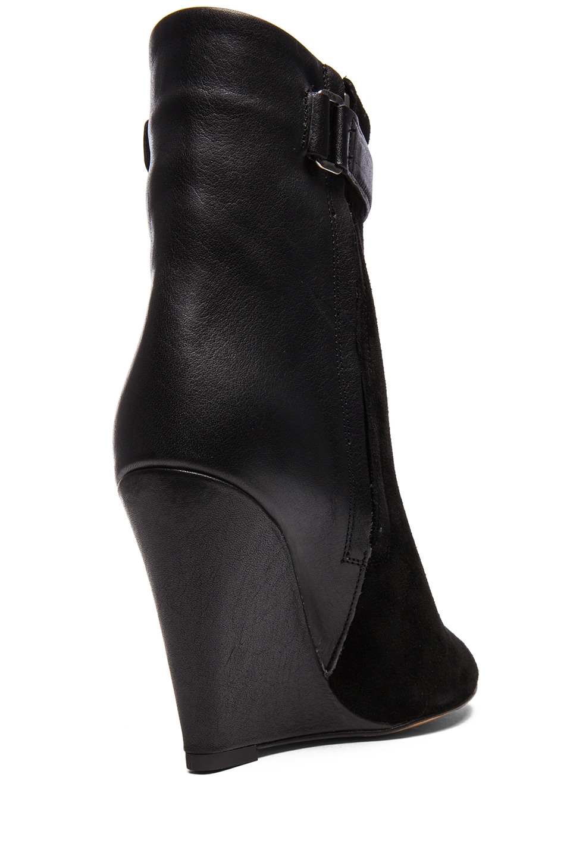 Image 3 of Isabel Marant Purdey Calfskin Velvet & Leather Booties in Black