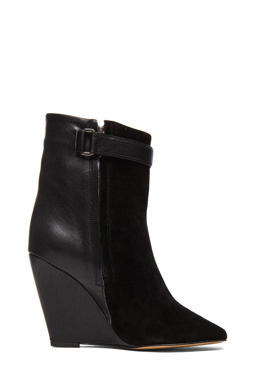 Image 5 of Isabel Marant Purdey Calfskin Velvet & Leather Booties in Black