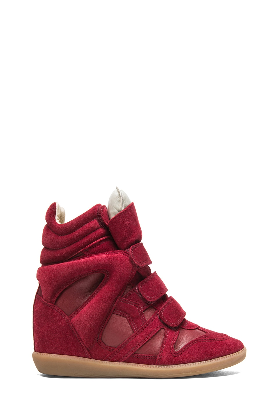 Image 1 of Isabel Marant Burt Calfskin Velvet Leather Sneakers in Burgundy