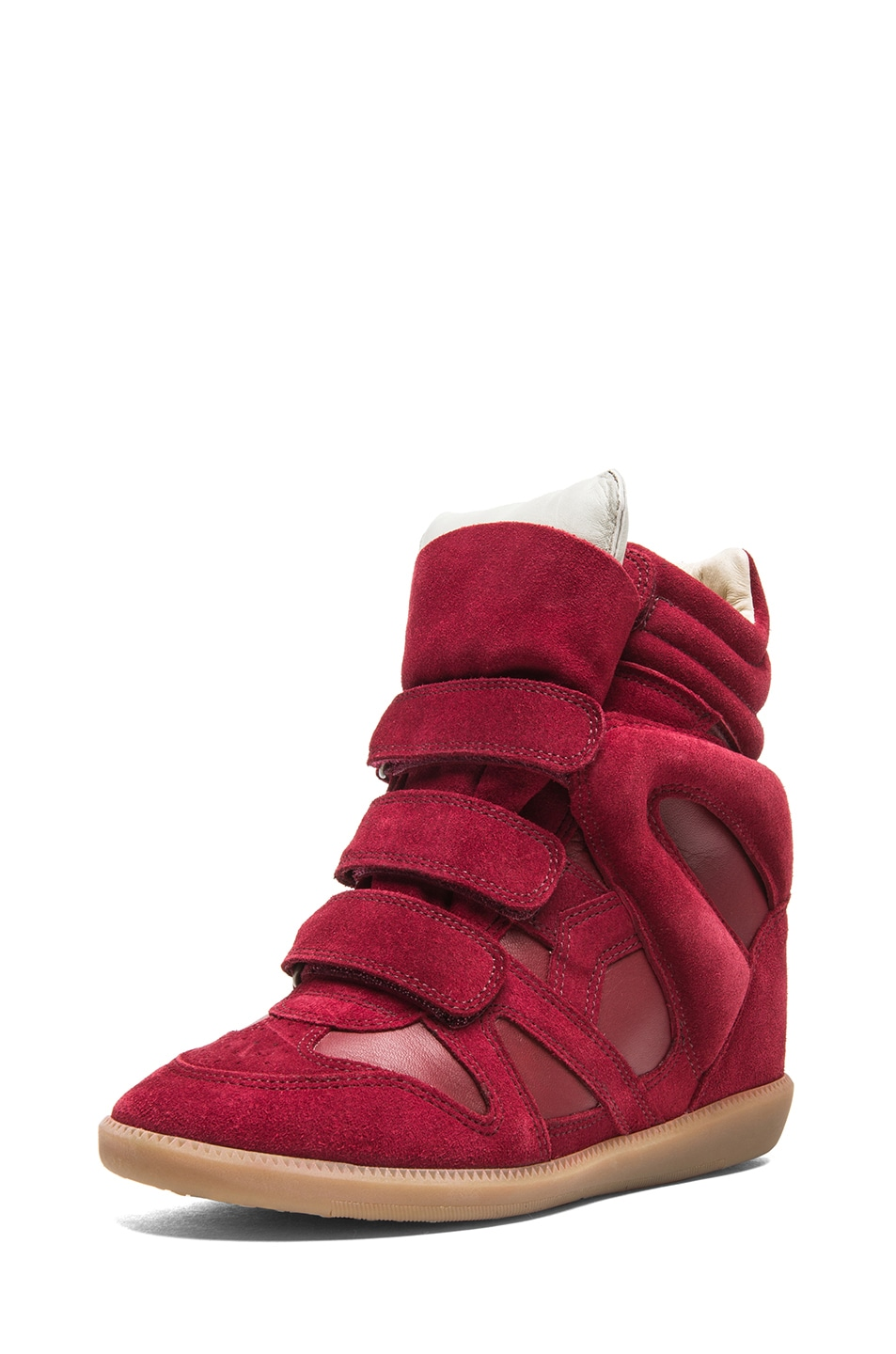 Image 2 of Isabel Marant Burt Calfskin Velvet Leather Sneakers in Burgundy