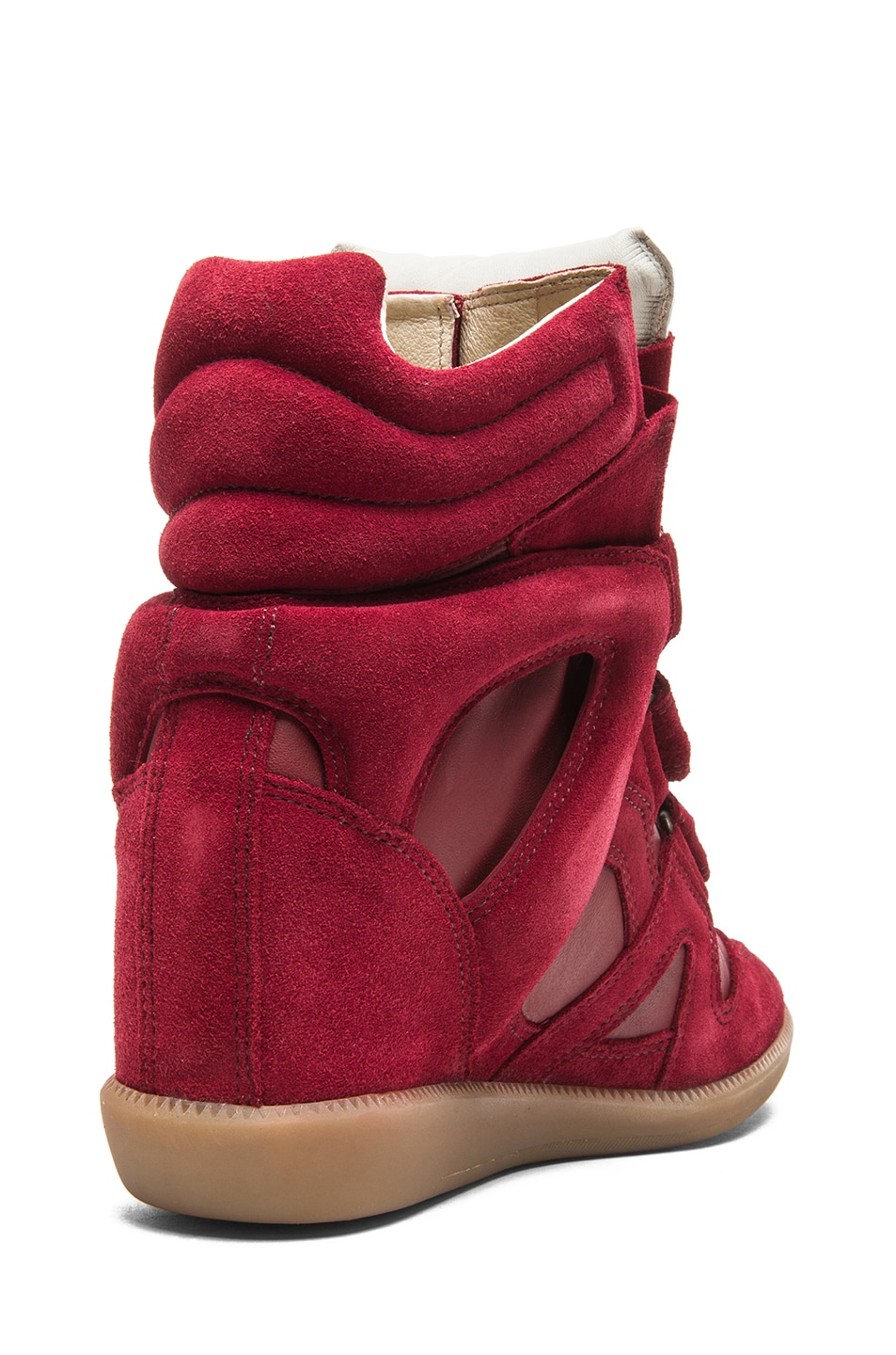 Image 3 of Isabel Marant Burt Calfskin Velvet Leather Sneakers in Burgundy
