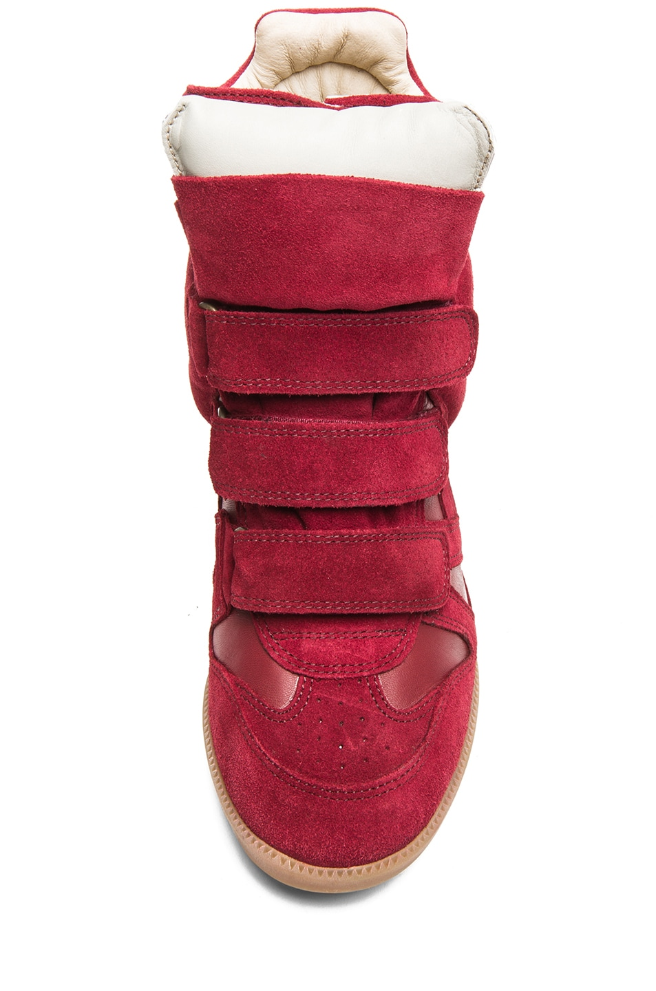 Image 4 of Isabel Marant Burt Calfskin Velvet Leather Sneakers in Burgundy