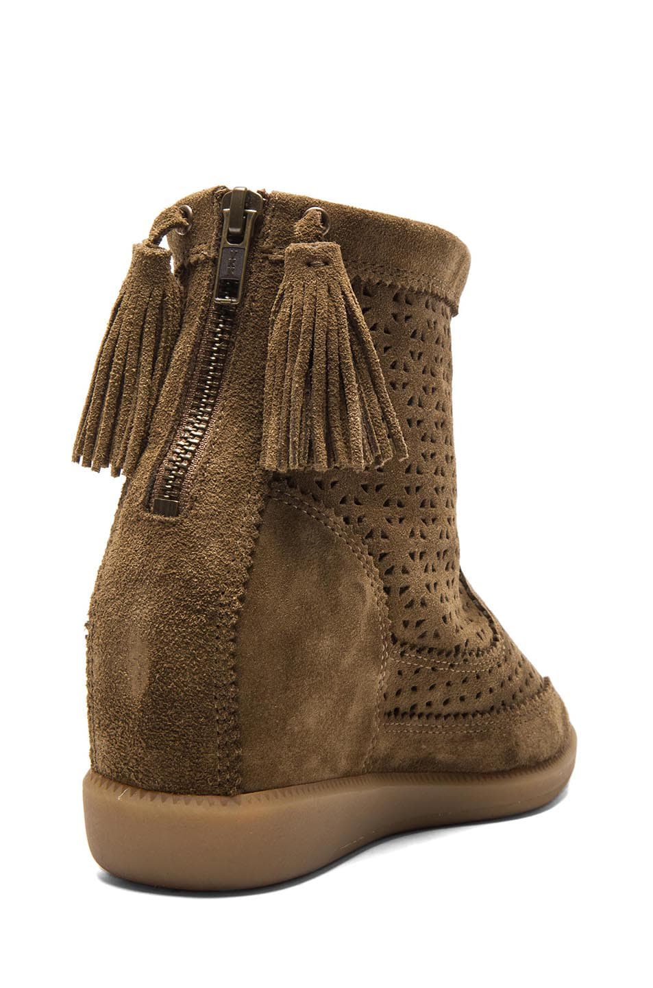 Image 3 of Isabel Marant Beslay Calfskin Velvet Leather Boots in Brown