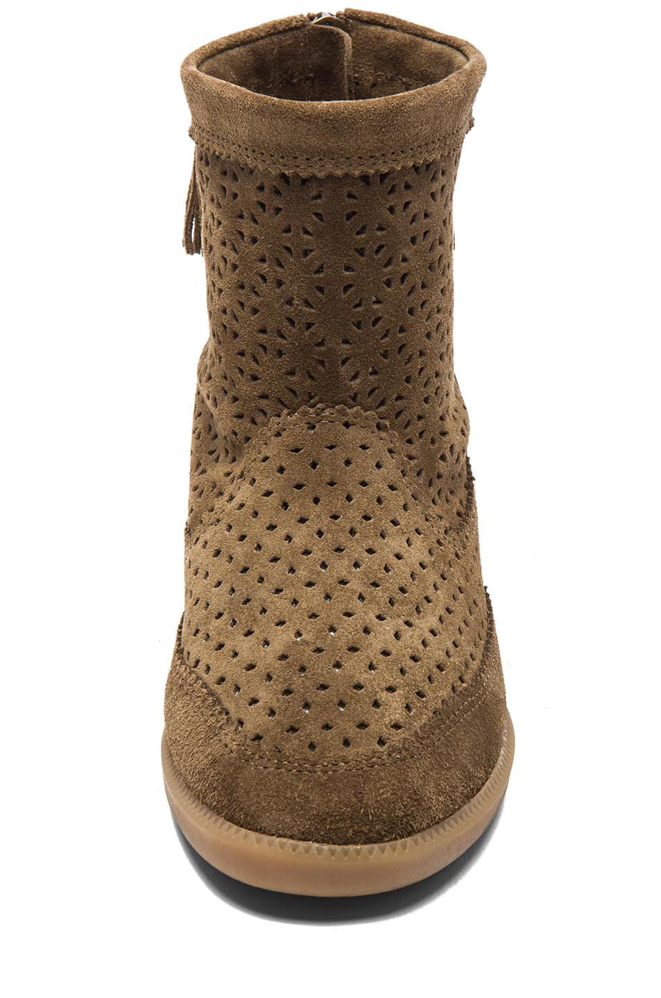 Image 4 of Isabel Marant Beslay Calfskin Velvet Leather Boots in Brown