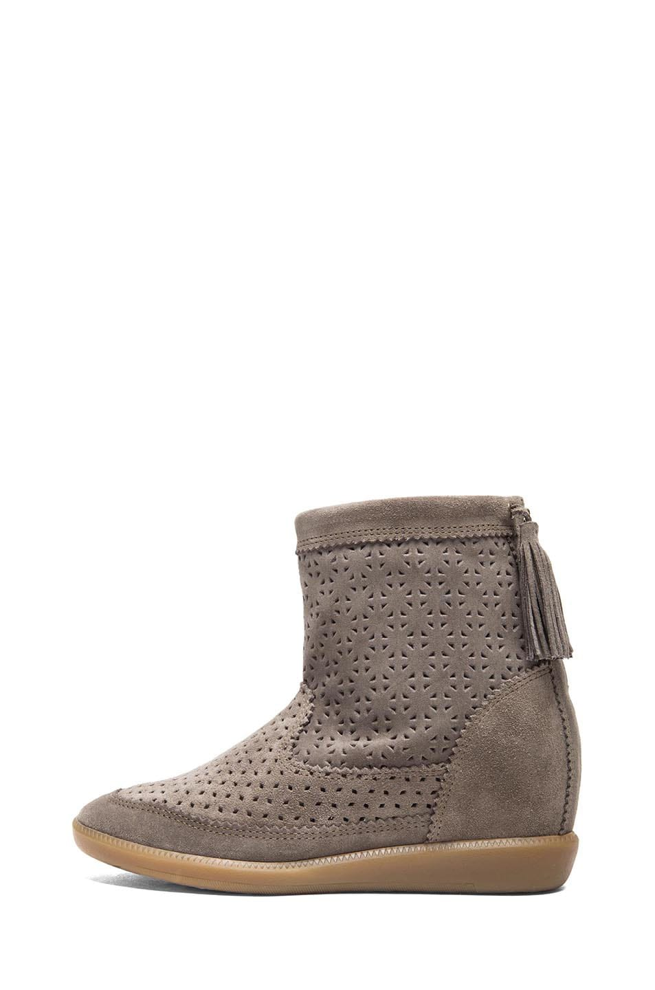 Image 1 of Isabel Marant Beslay Calfskin Velvet Star Boots in Taupe