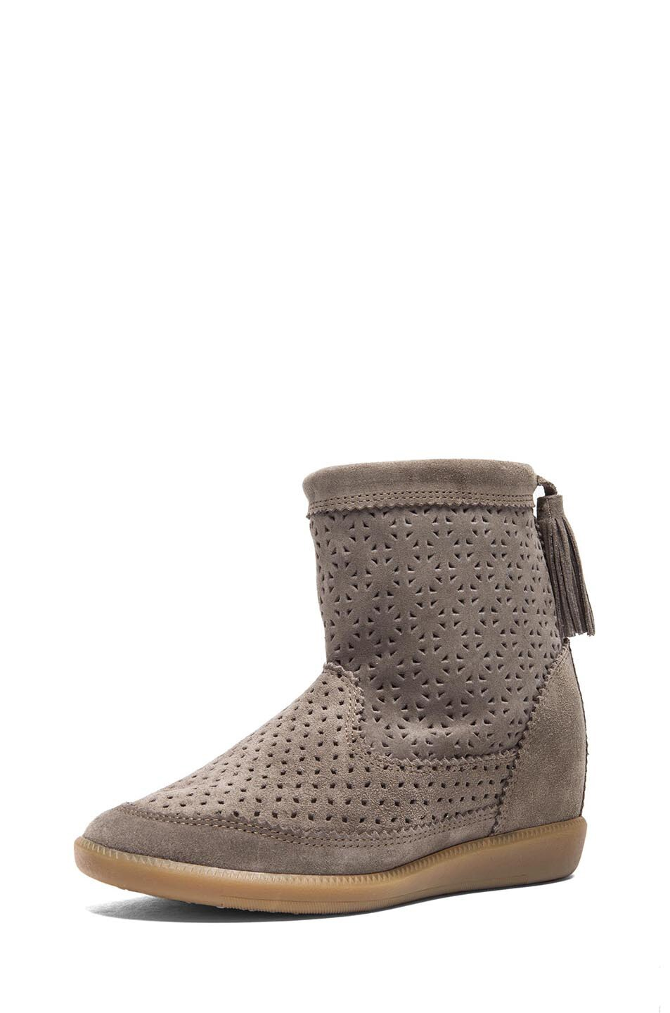 Image 2 of Isabel Marant Beslay Calfskin Velvet Star Boots in Taupe