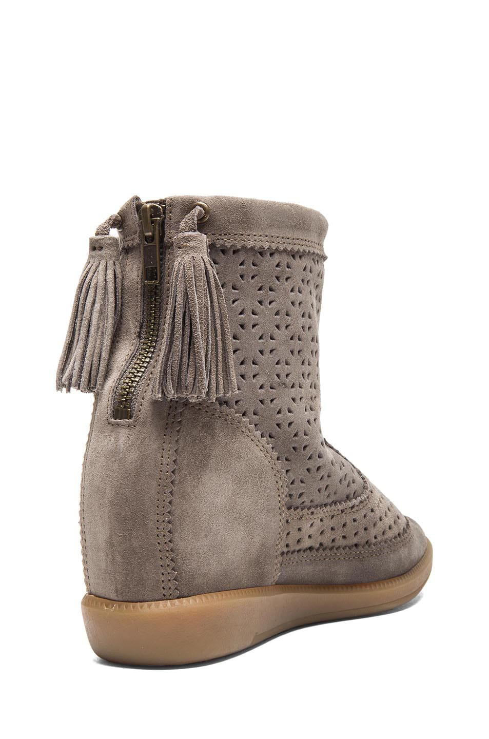 Image 3 of Isabel Marant Beslay Calfskin Velvet Star Boots in Taupe