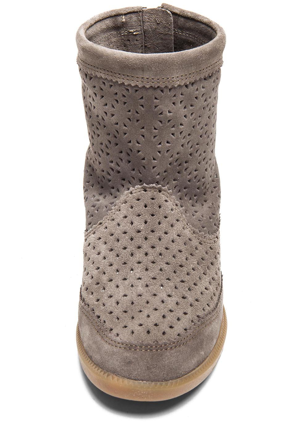 Image 4 of Isabel Marant Beslay Calfskin Velvet Star Boots in Taupe