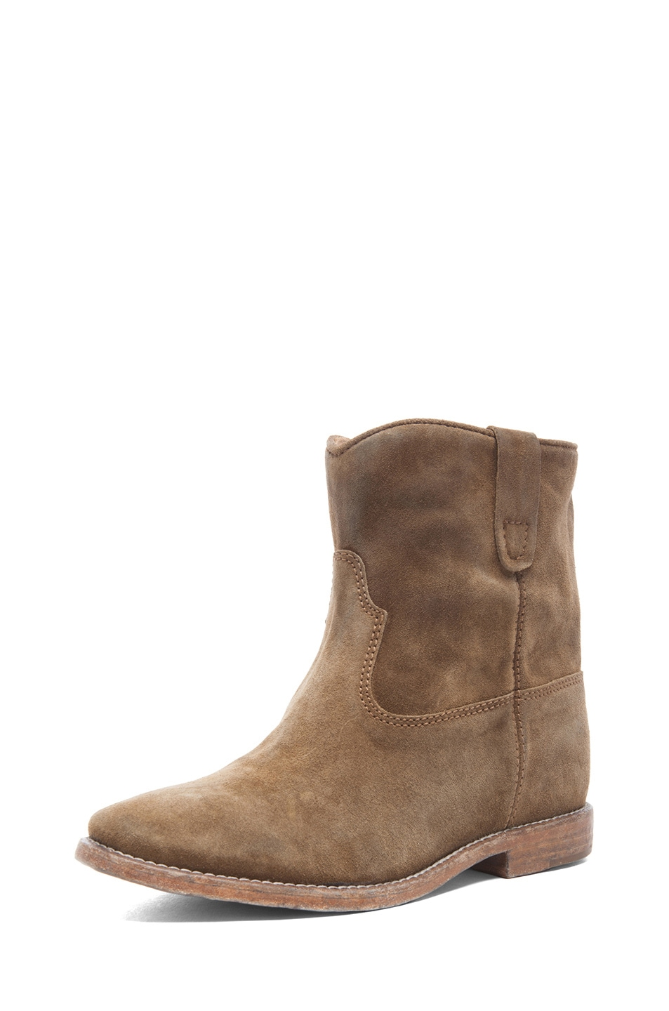 Image 2 of Isabel Marant Crisi Calfskin Velvet Leather Boots in Brown