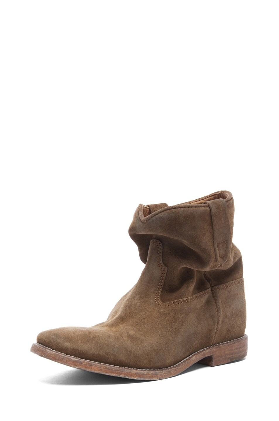 Image 3 of Isabel Marant Crisi Calfskin Velvet Leather Boots in Brown