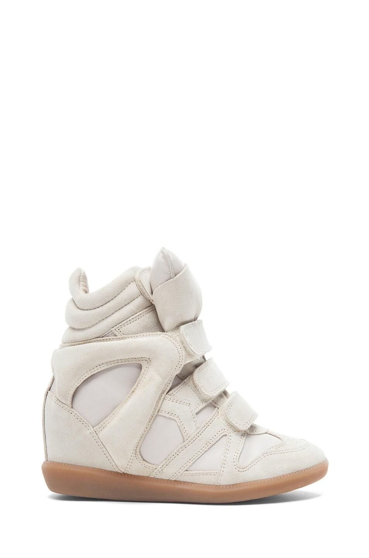 Image 1 of Isabel Marant Burt Calfskin Velvet Leather Sneakers in Ecru