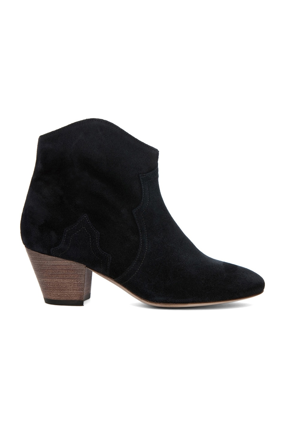 Image 1 of Isabel Marant Dicker Calfskin Velvet Leather Booties in Anthracite