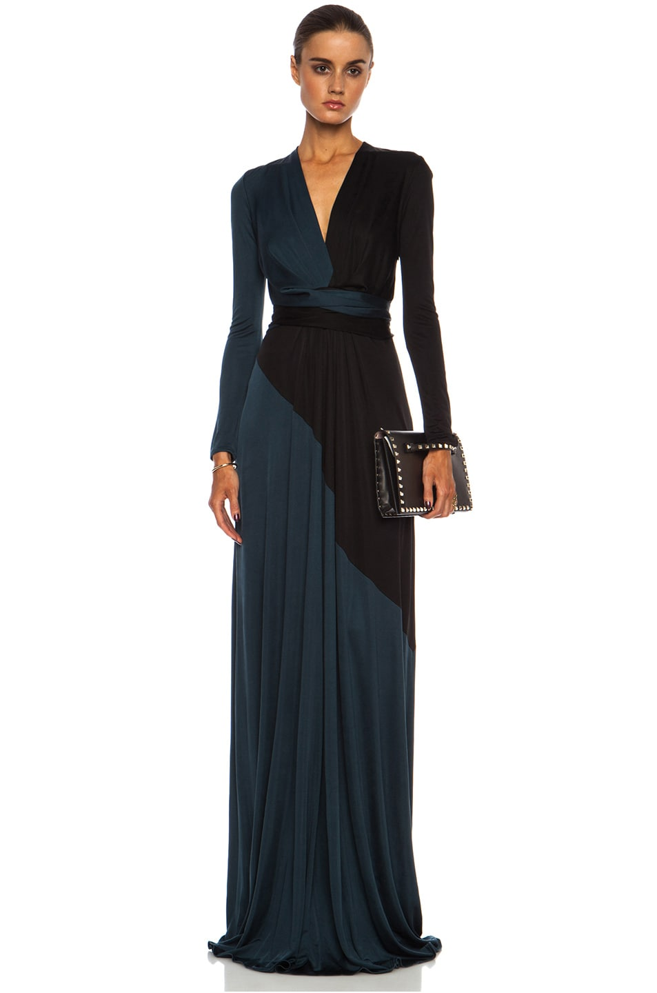 Image 1 of Issa Florence Color Block Maxi Silk-Blend Gown Multi in Petrol