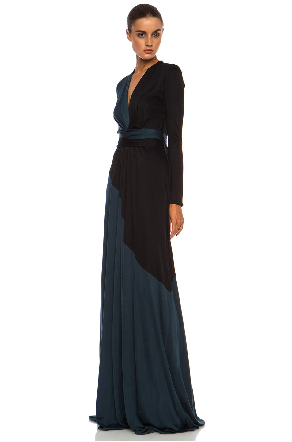Image 2 of Issa Florence Color Block Maxi Silk-Blend Gown Multi in Petrol