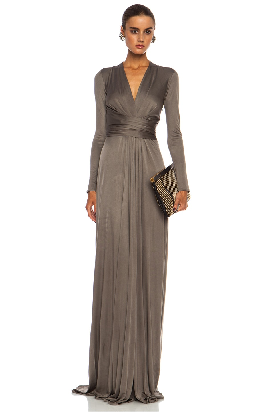 Image 1 of Issa Florence Color Block Maxi Silk-Blend Gown in Smoke
