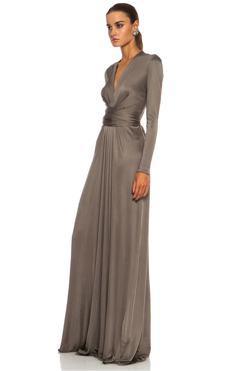 Image 2 of Issa Florence Color Block Maxi Silk-Blend Gown in Smoke
