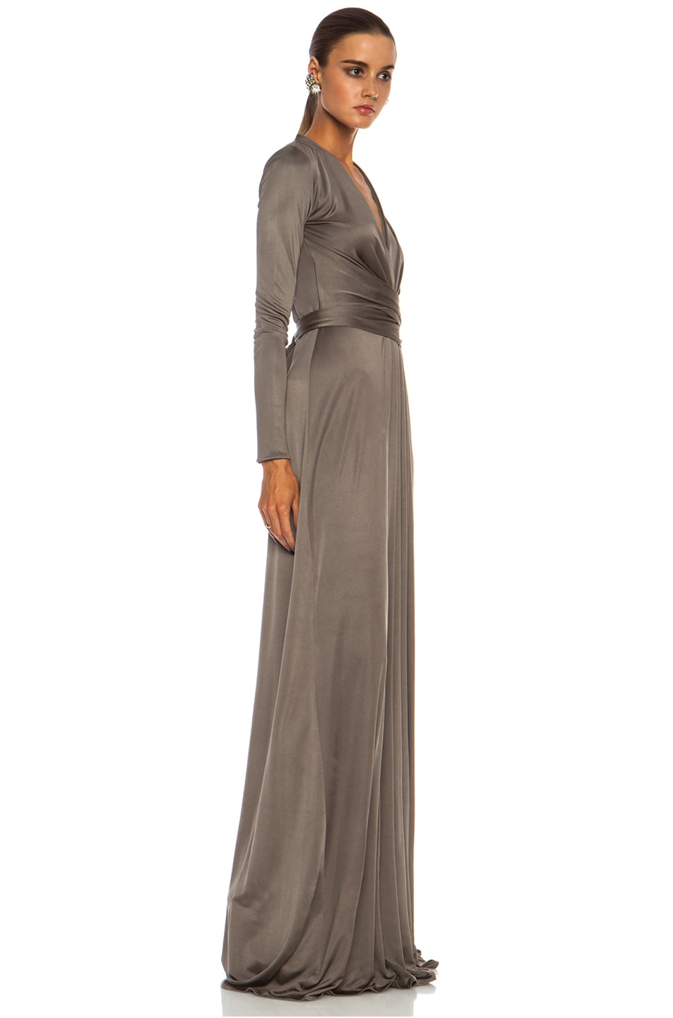 Image 3 of Issa Florence Color Block Maxi Silk-Blend Gown in Smoke