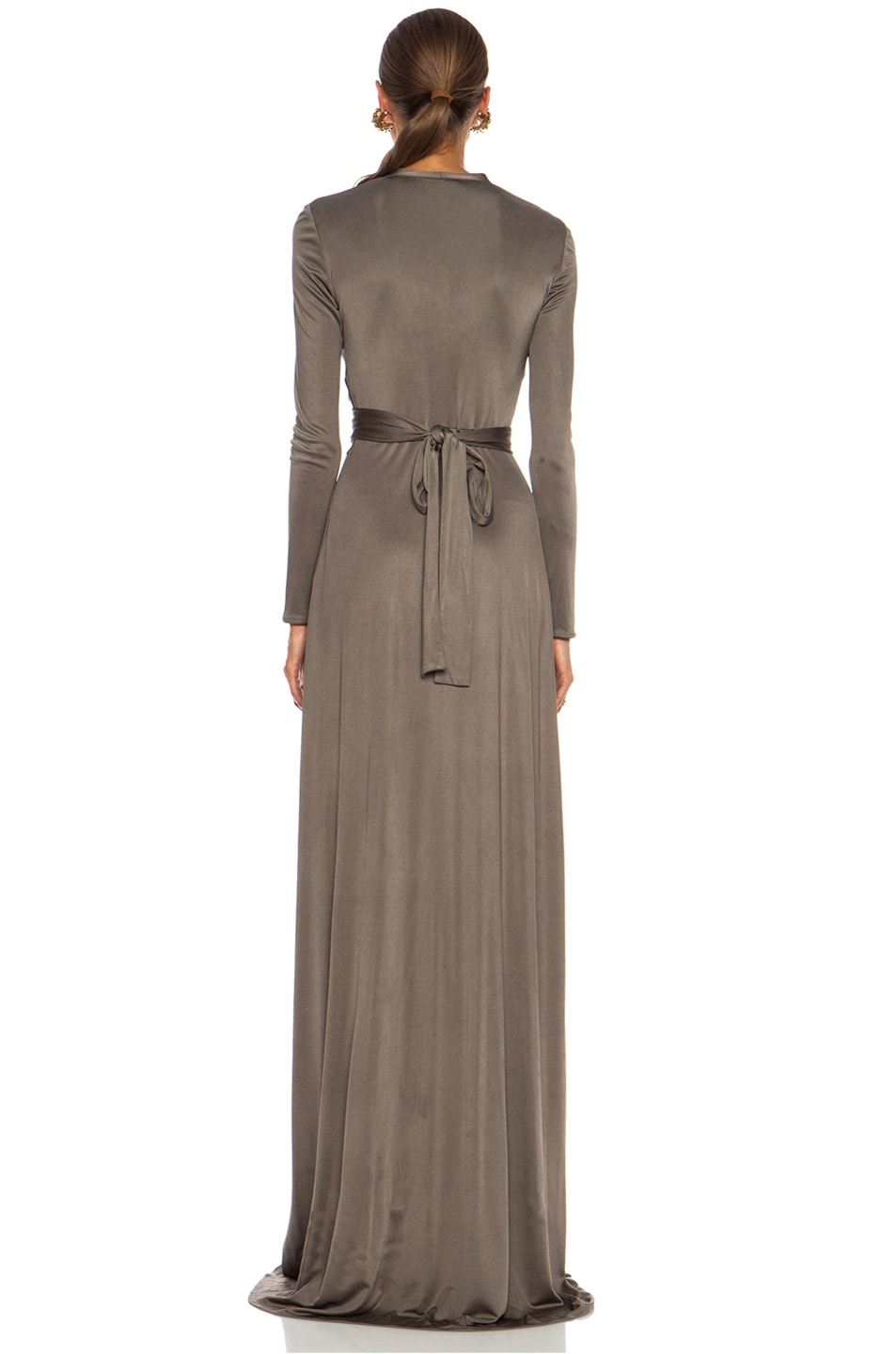 Image 4 of Issa Florence Color Block Maxi Silk-Blend Gown in Smoke
