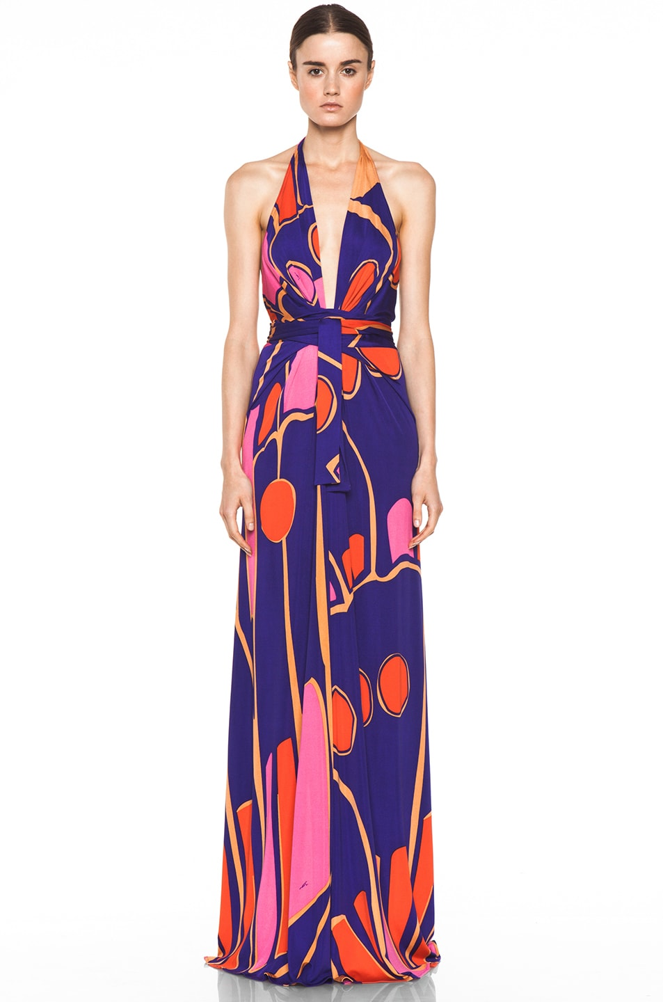 Image 1 of Issa Silk Printed Halter Maxi Dress in Indigo Multi