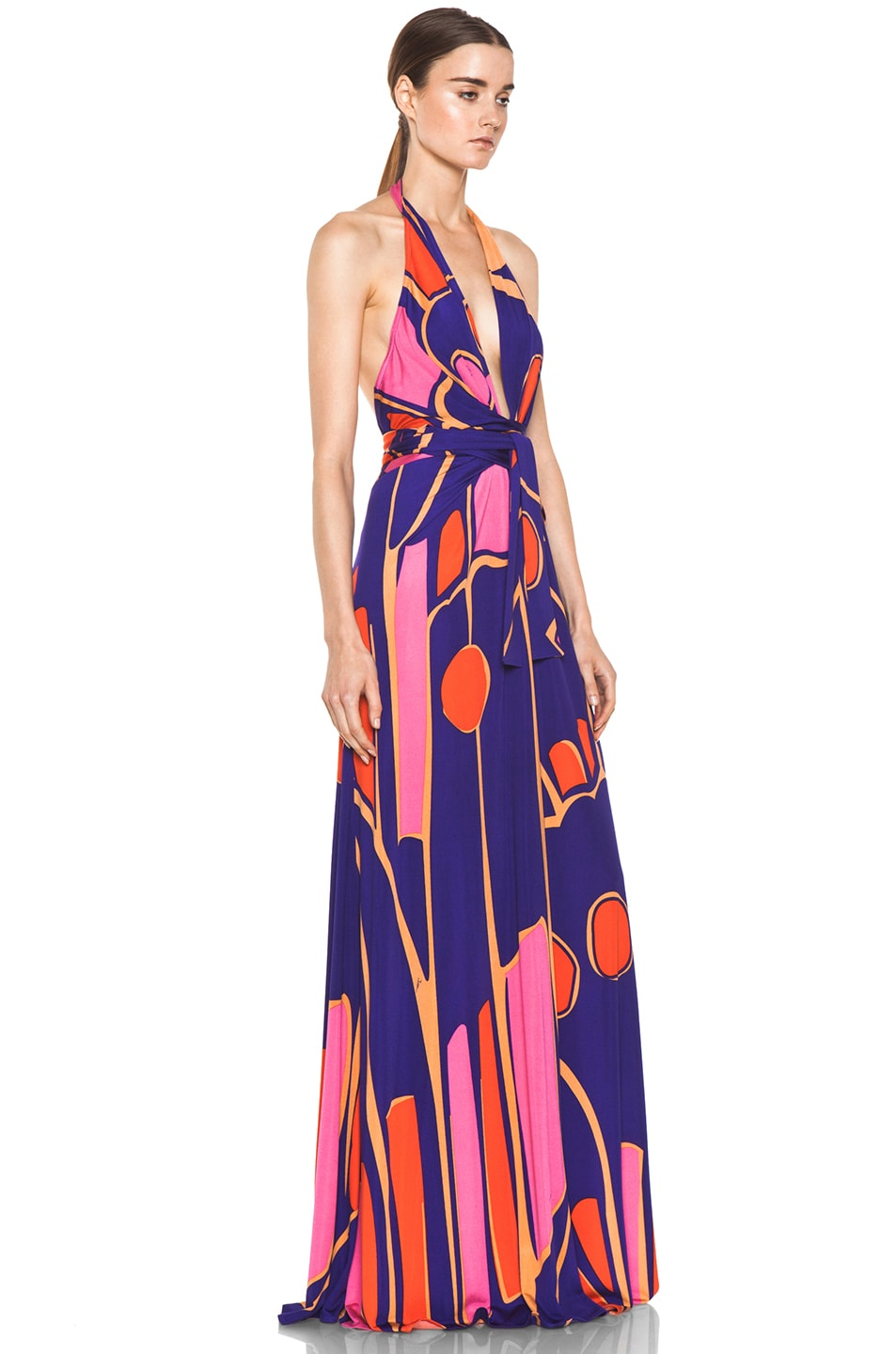 Image 3 of Issa Silk Printed Halter Maxi Dress in Indigo Multi