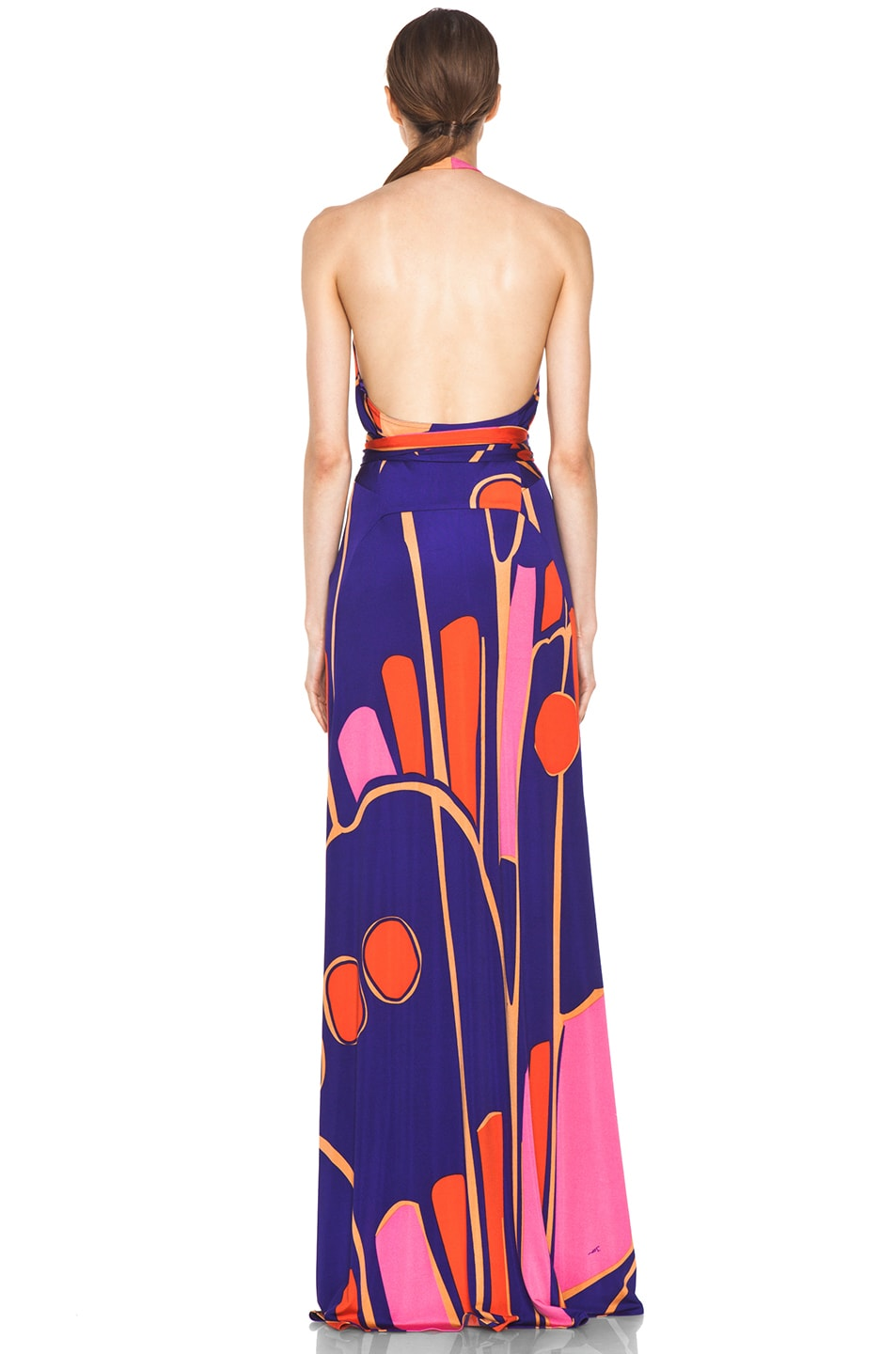 Image 4 of Issa Silk Printed Halter Maxi Dress in Indigo Multi