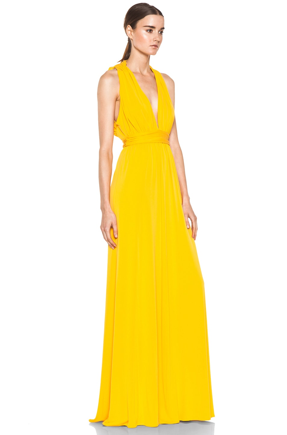 Image 3 of Issa Low Cut Maxi Dress in Pumpkin
