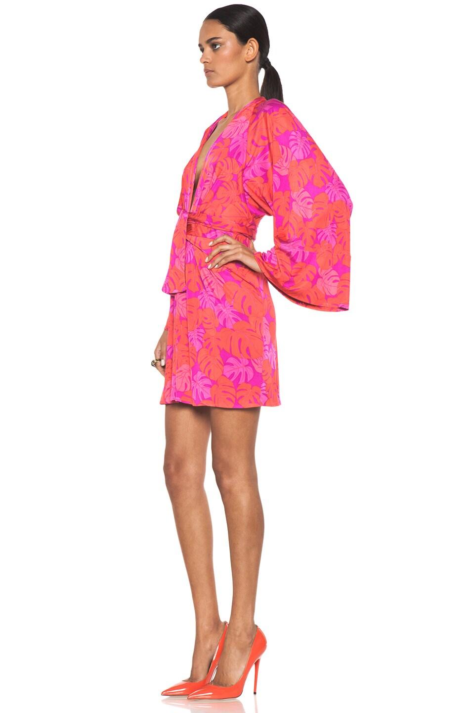 Image 2 of Issa Mini Kimono Dress in Magenta