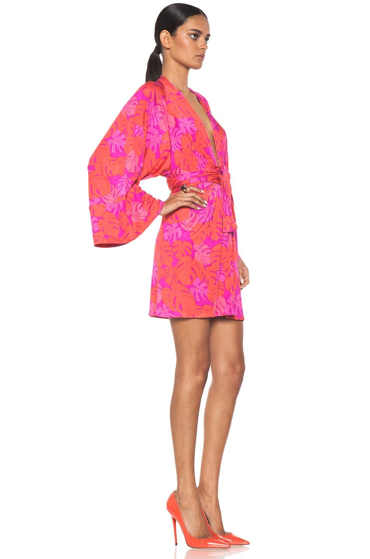 Image 3 of Issa Mini Kimono Dress in Magenta