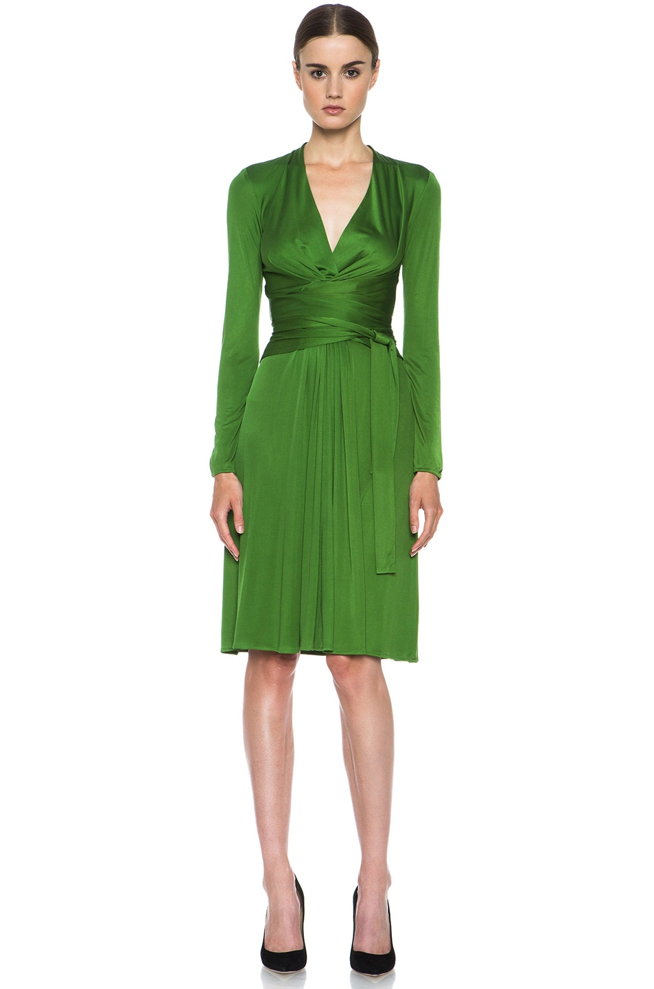Image 1 of Issa Deep V Dress in Olive