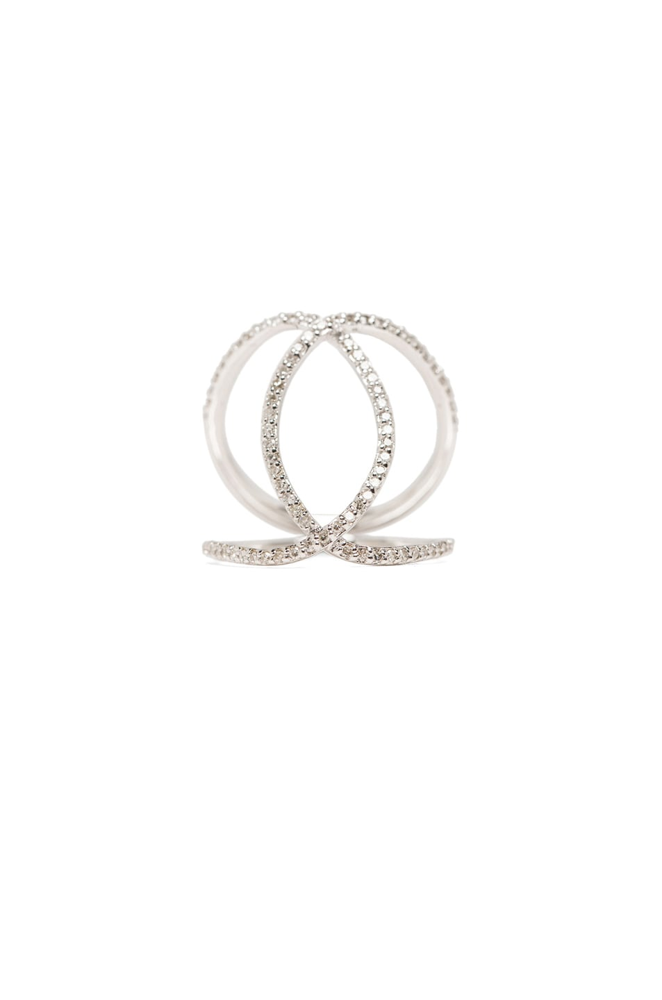 Image 5 of Jacquie Aiche 14K Pave Overlap Circle Ring in White Gold