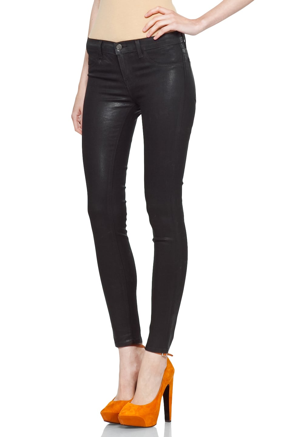 Image 2 of J Brand Coated Denim Skinny in Coated Stealth