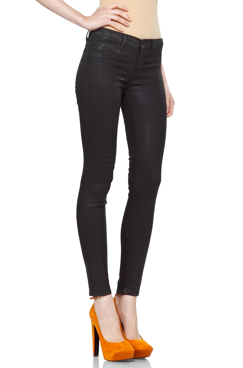 Image 3 of J Brand Coated Denim Skinny in Coated Stealth
