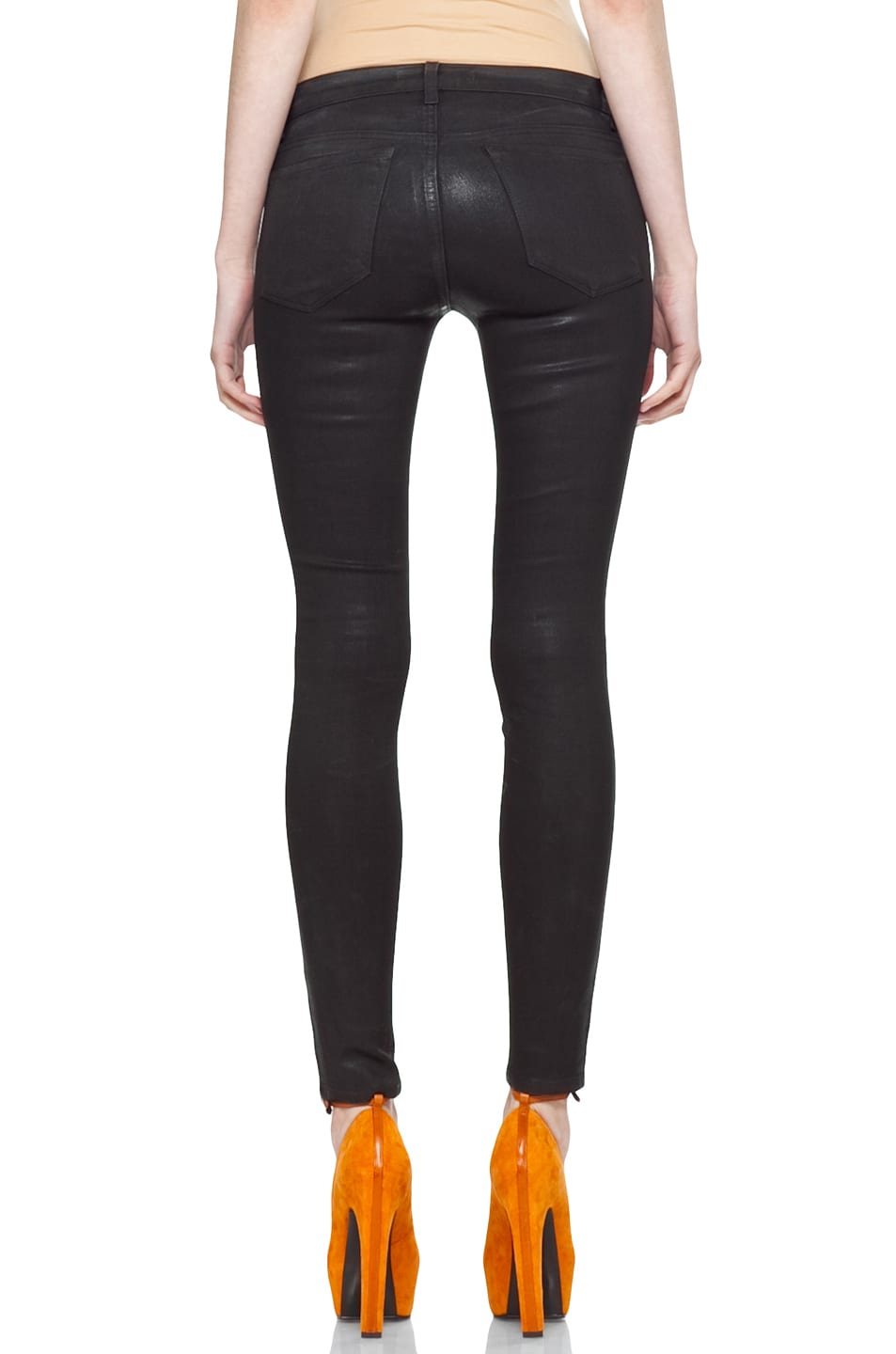 Image 4 of J Brand Coated Denim Skinny in Coated Stealth