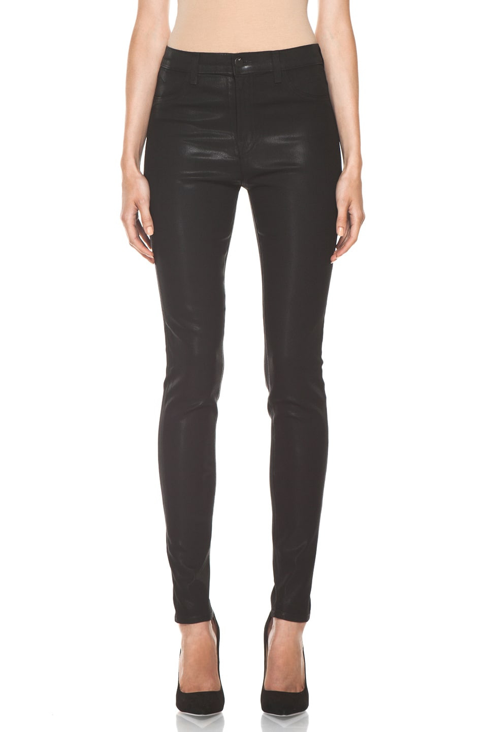 Image 1 of J Brand Maria High Rise Skinny Jean in Coated Stealth