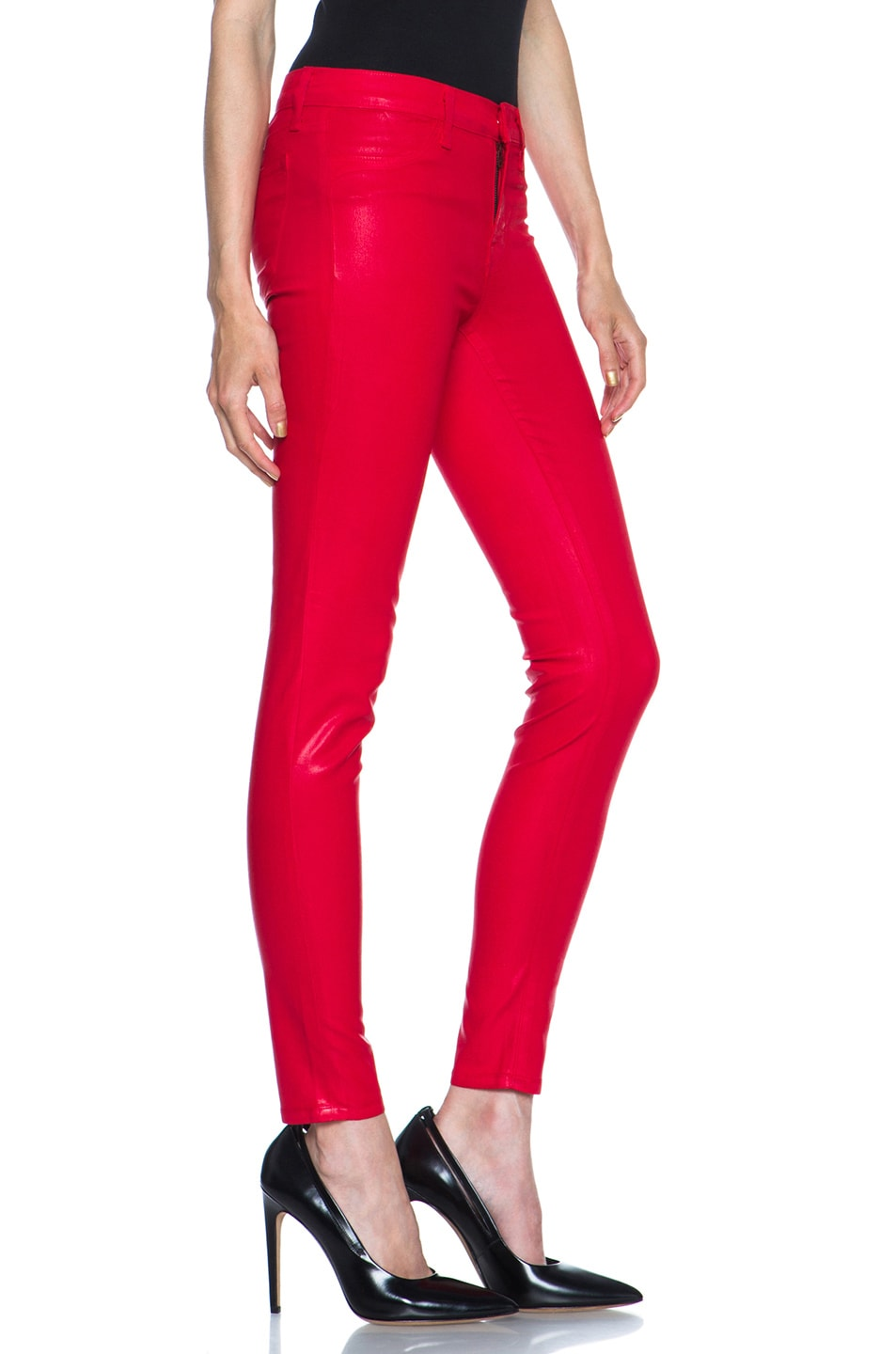 Image 3 of J Brand Mid-Rise Coated Legging in Coated Adra Red