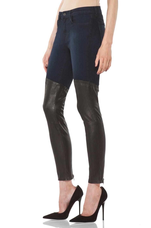 Image 2 of J Brand Denim Leather Combo Skinny in Klash