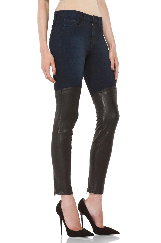 Image 3 of J Brand Denim Leather Combo Skinny in Klash