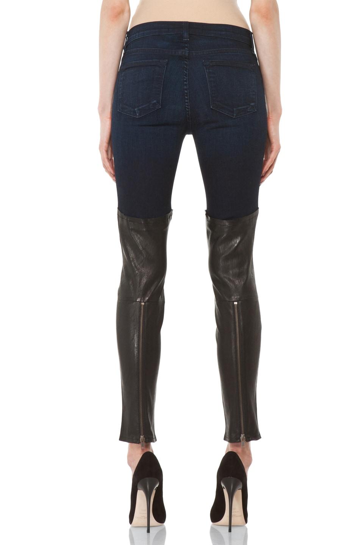 Image 4 of J Brand Denim Leather Combo Skinny in Klash