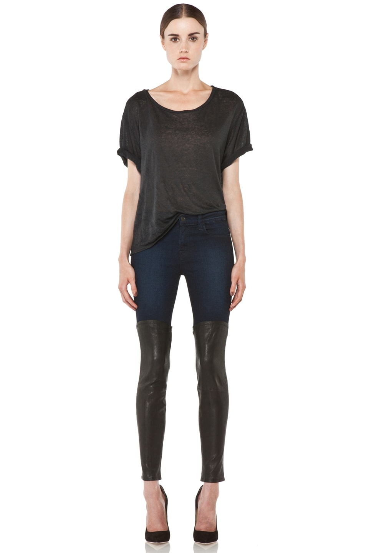 Image 5 of J Brand Denim Leather Combo Skinny in Klash