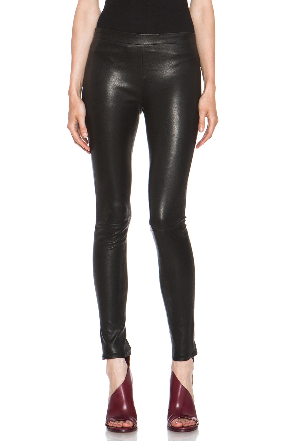 Image 1 of J Brand Lambskin Leather Leggings in Black