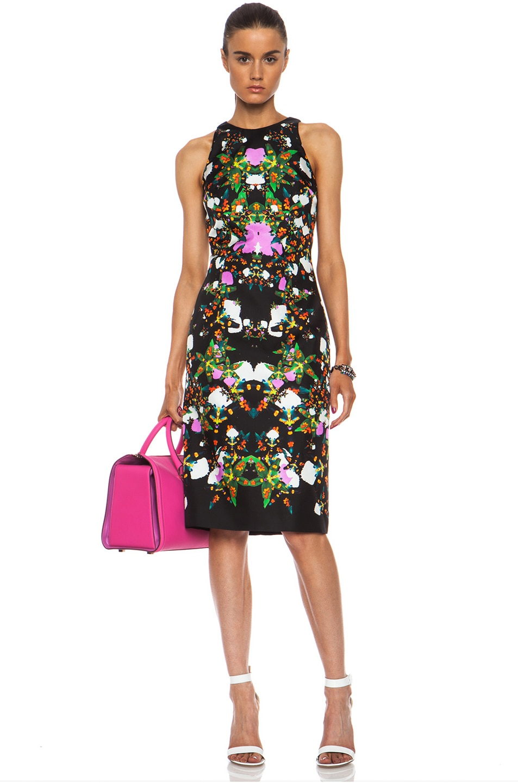 Image 1 of Josh Goot Orchid Mirror Silk Tank Dress in Black