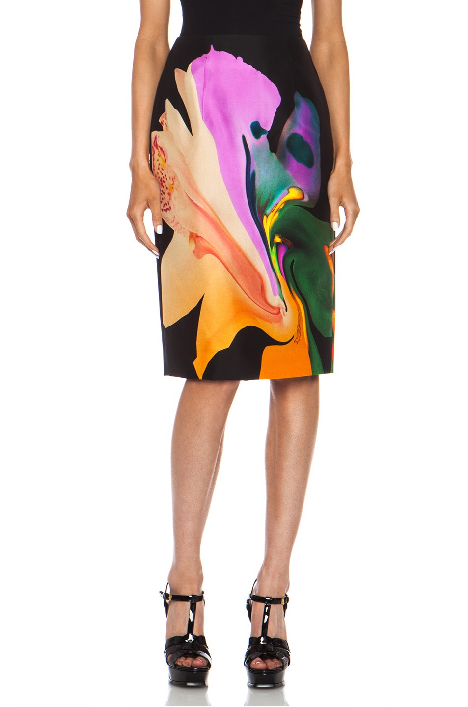 Image 1 of Josh Goot Orchid Morph Silk Skirt in Black