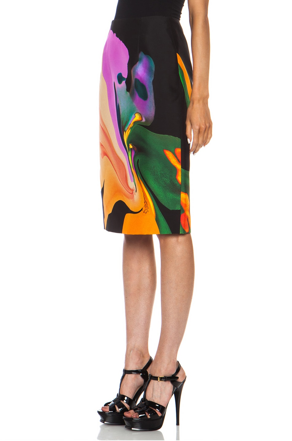 Image 2 of Josh Goot Orchid Morph Silk Skirt in Black