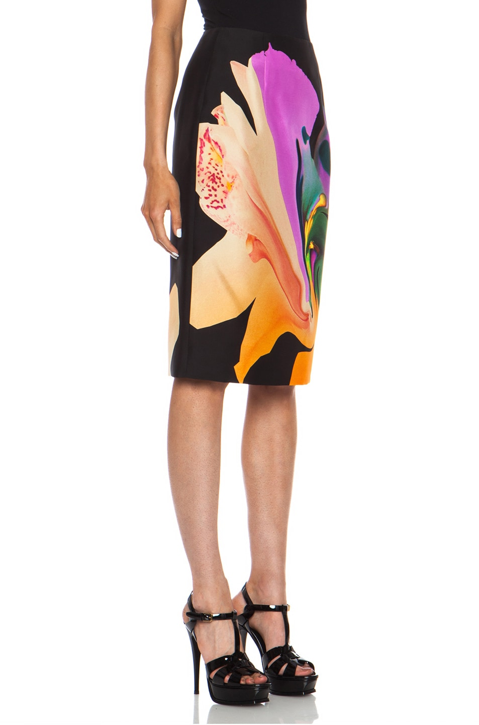 Image 3 of Josh Goot Orchid Morph Silk Skirt in Black
