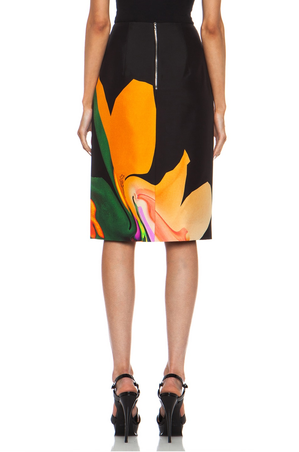 Image 4 of Josh Goot Orchid Morph Silk Skirt in Black