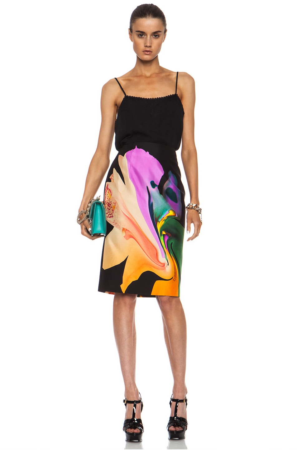 Image 5 of Josh Goot Orchid Morph Silk Skirt in Black