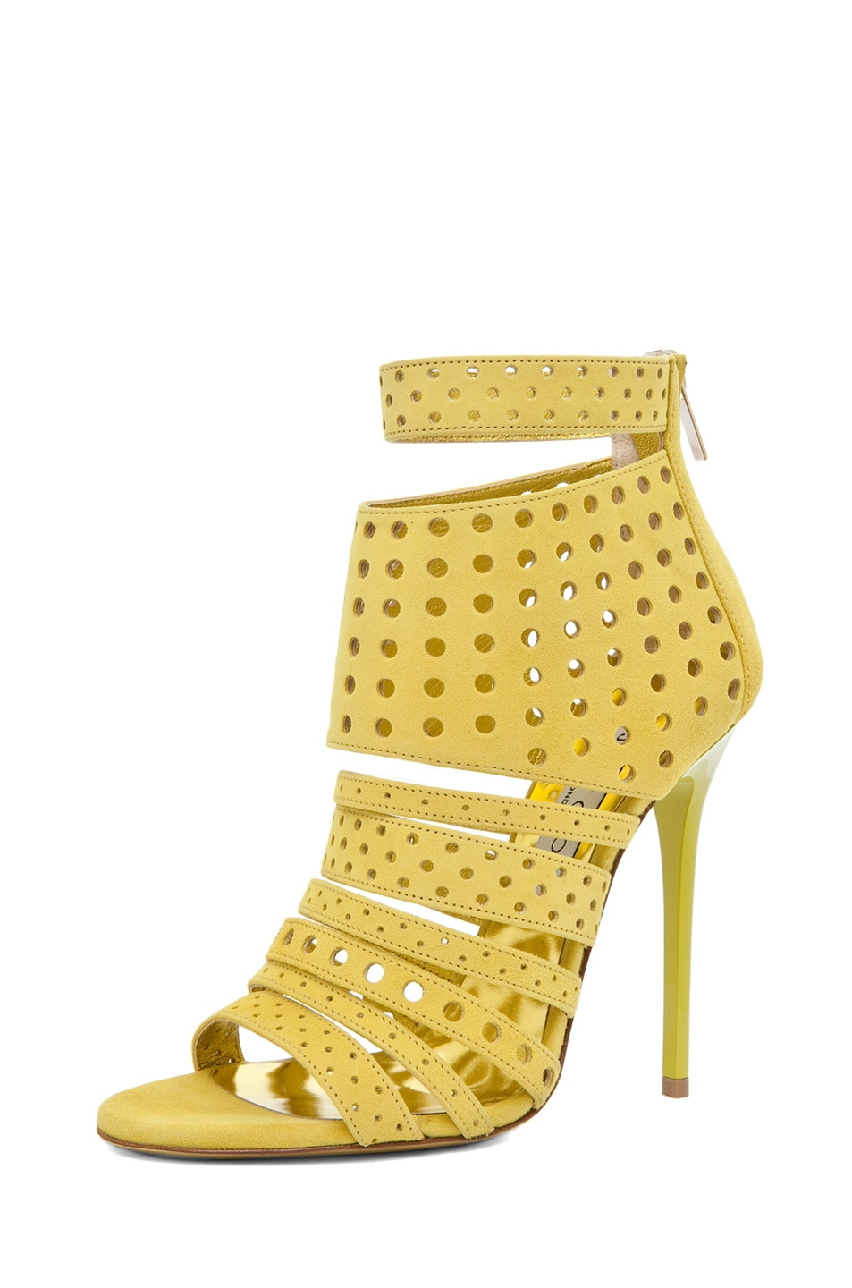 Image 2 of Jimmy Choo Malika Suede Perforated Heel in Citrine